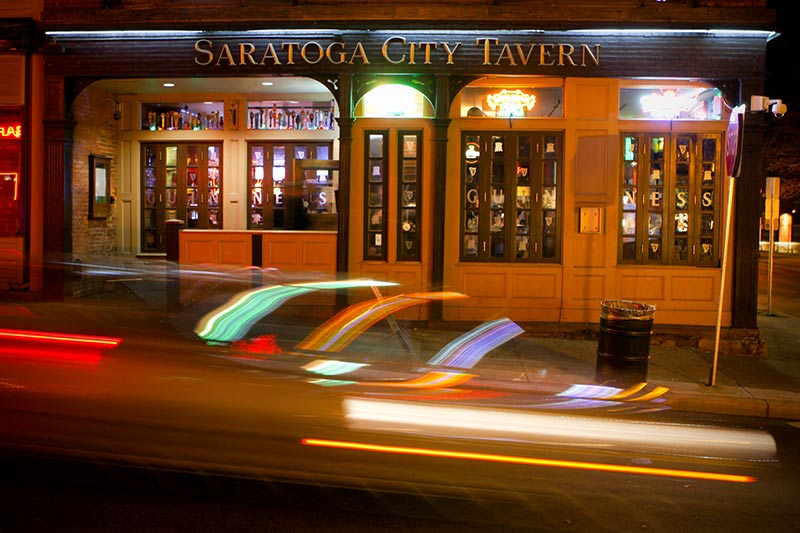 The Front Facade of Saratoga City Tavern, a popular bar in Saratoga Springs, NY