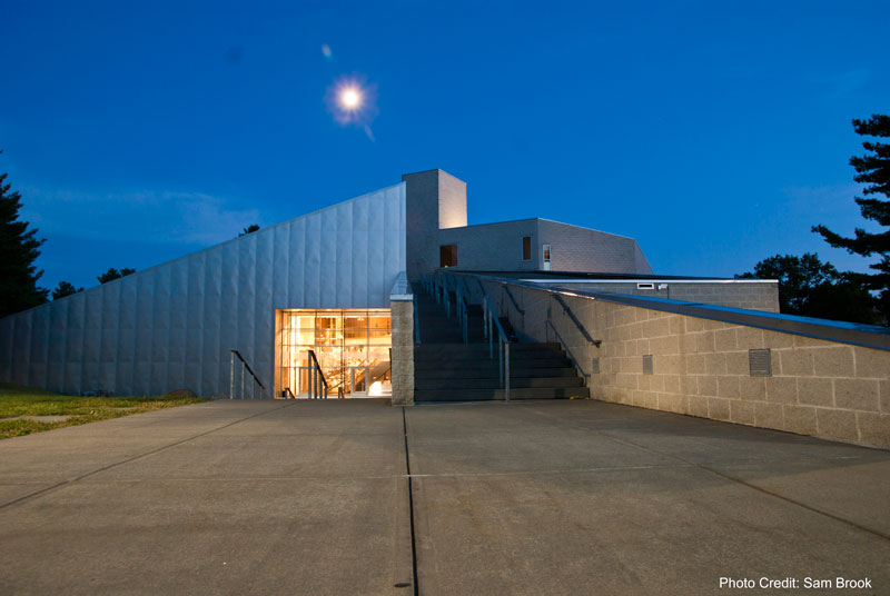 Exterior night shot of the Frances Young Tang Teaching Museum at Skidmore College in Saratoga Springs, NY
