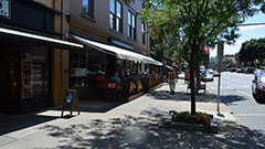 Shops and restaurants along Broadway in Saratoga Springs