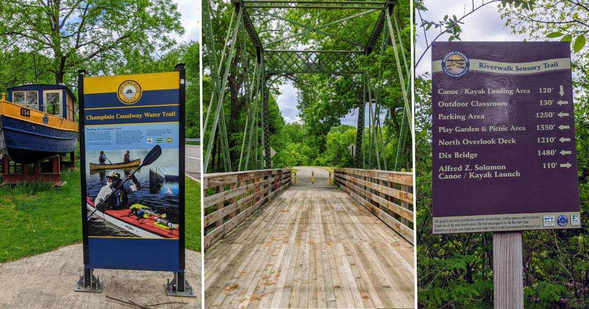 split image of three photos - boat by canal sign, bridge, and trail sign