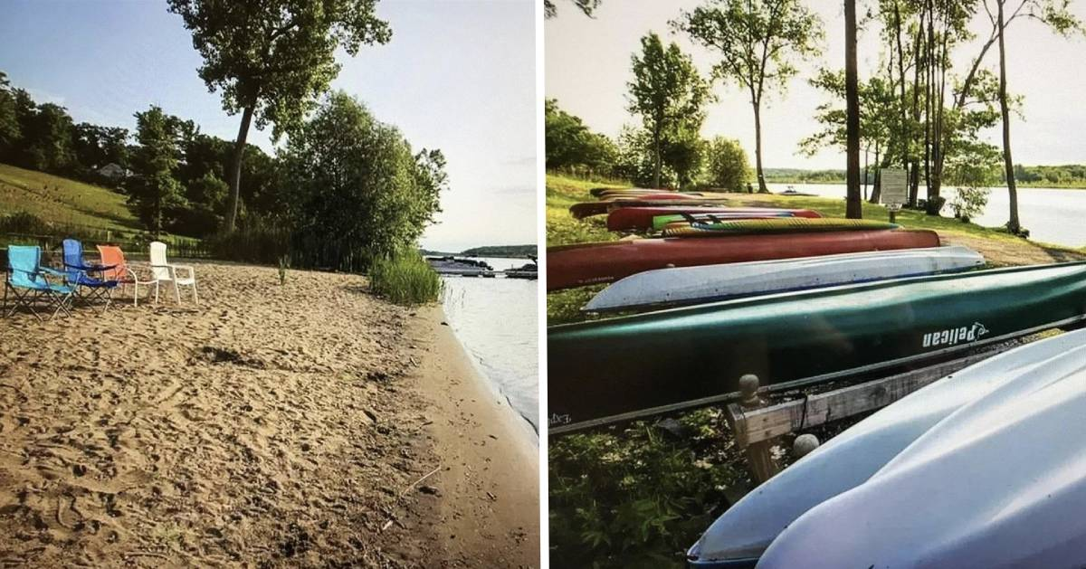 split image of beach and boats