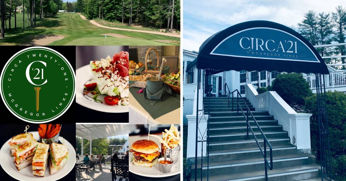 left photo of logo and restaurant food and right photo of entrance of circa 21