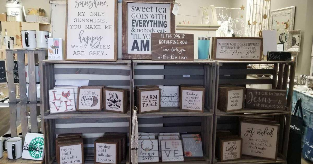 signs on display in a store
