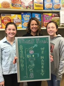 Franklin Community Center's Julie Slovic, flanked by Eva (L) and Celia (R) say thanks to anonymous benefactor. Photo Provided
