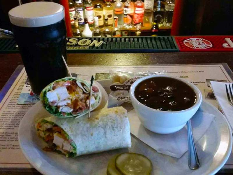 Chicken club wrap with soup at the Parting Glass in Saratoga