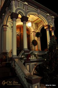 The entrance to the Batcheller Mansion decked out for the holidays.