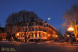Saratoga Arms under the light of the setting moon.