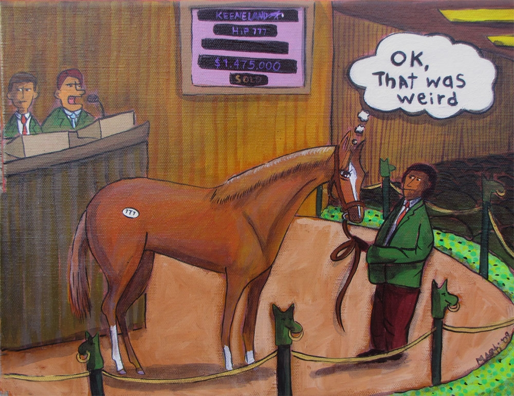 Marti McGinnis Keeneland Sales Painting Hilarious.JPG