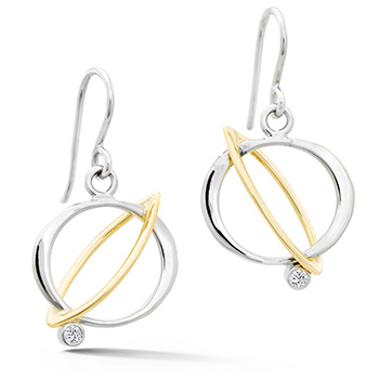 gold and silver orbital earrings