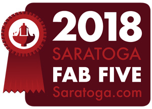 red badge that says 2018 saratoga fab five