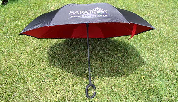 red and black saratoga race course umbrella