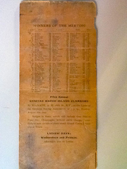 pages from a saratoga summer meet program dating back to 1897