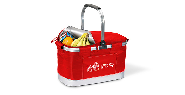 red cooler with saratoga race course logo