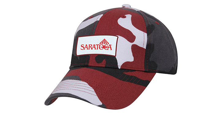 red and black camo saratoga race course baseball hat