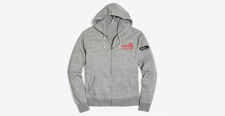 gray saratoga race course zip-up sweatshirt