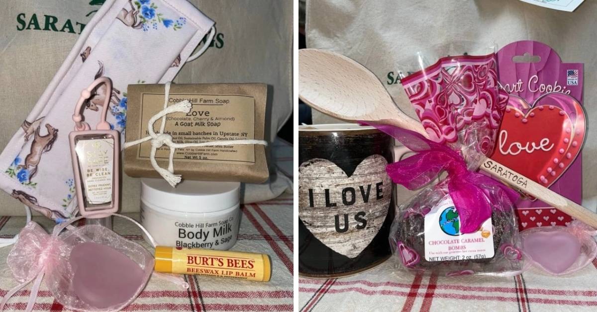 two photos of gift packages with romantic gifts