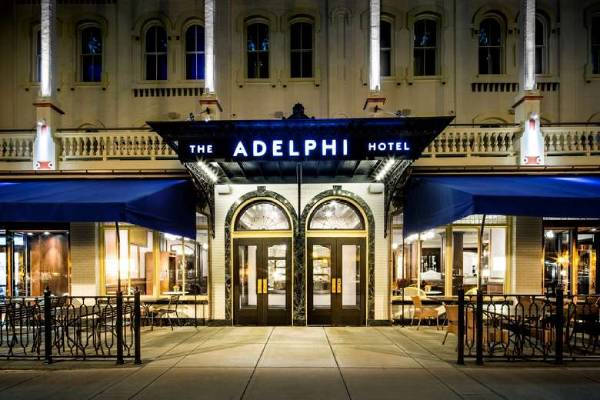 adelphi hotel sign outside hotel building