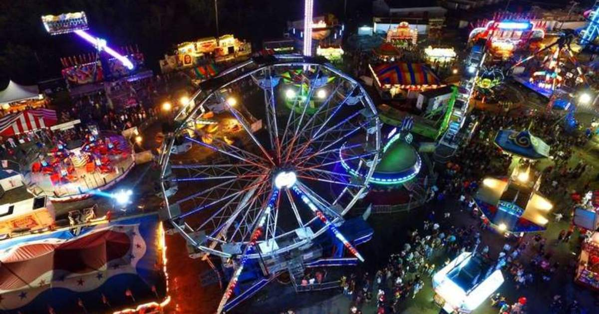 aerial view of fair rides at night