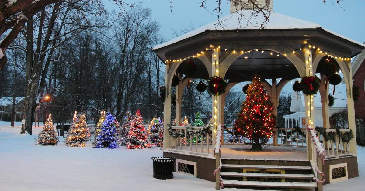 snowy park with gazebo decorated with holiday trees