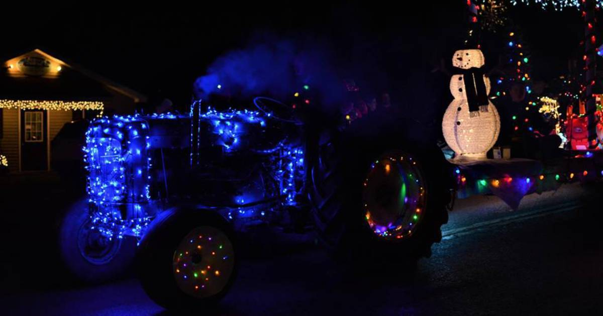 tractor decorated with holiday lights