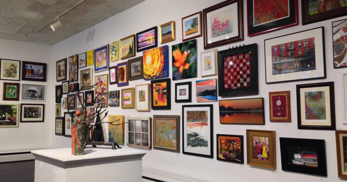 large wall of artworks