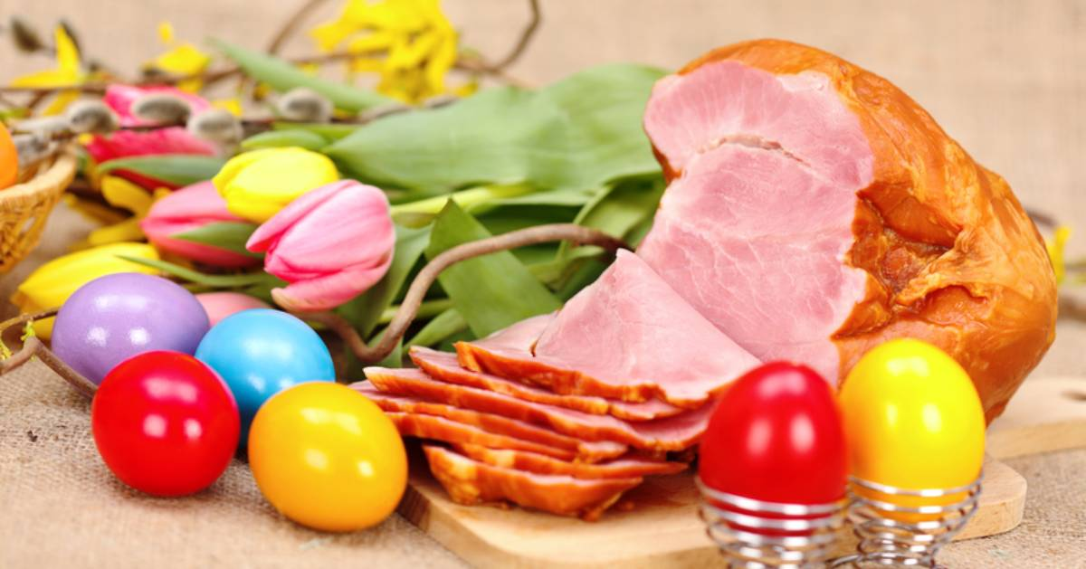 easter eggs and a baked ham and flowers