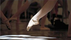 ballet dancer's pointed foot
