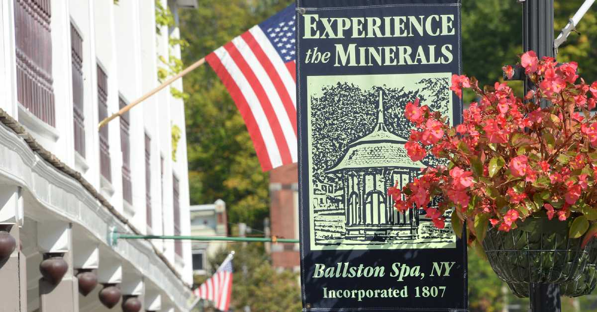 a banner in Ballston Spa that says experience the minerals