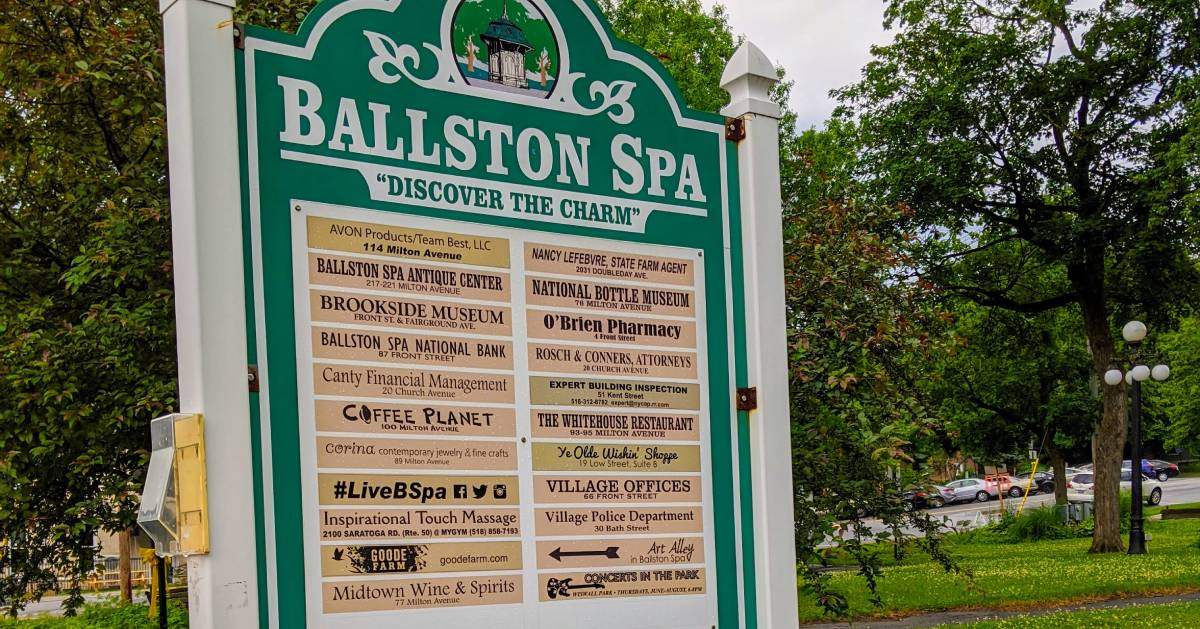 Ballston Spa sign listing businesses