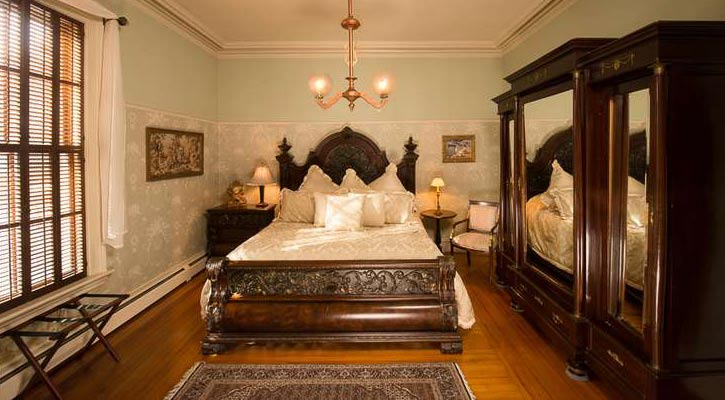 a lavish bedroom in a bed and breakfast