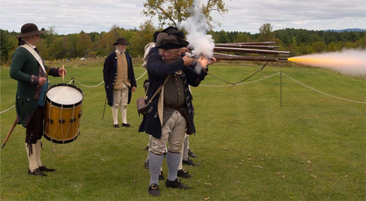 a reenactment of the Battle of Saratoga