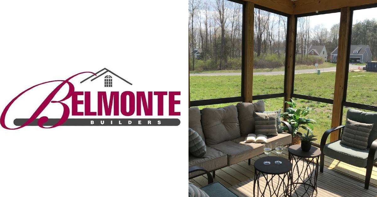left image of belmonte builders logo and right image of a screen porch