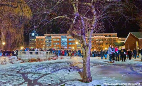 people outdoors in winter at first night saratoga