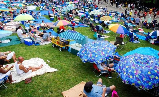 people at a lawn concert