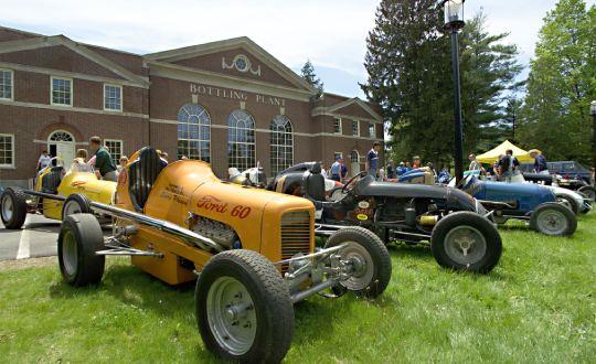 antique trucks on display