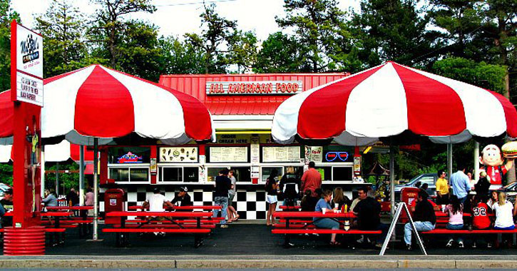the outside of Bill's Carohop with large red and white striped umbrellas over picnic tables