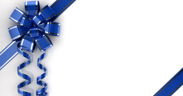 blue ribbon and bow wrapped around a gift