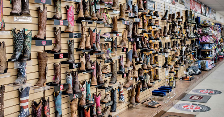 a lot of Western-style boots on display in a store