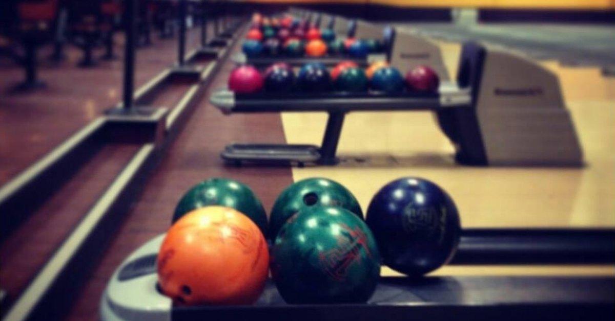 bowling balls at a lane