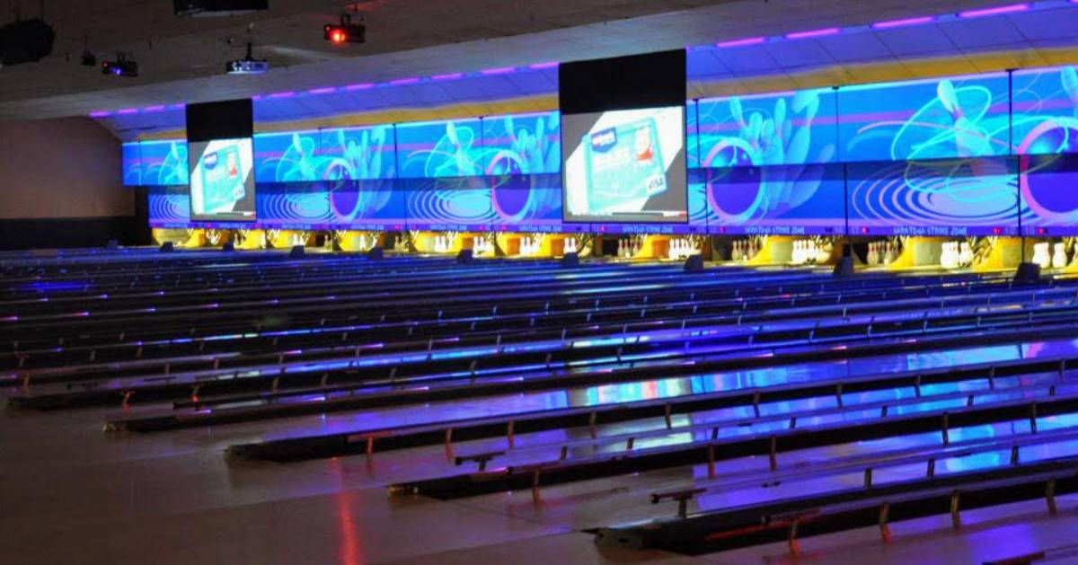 bowling alley with blue lights