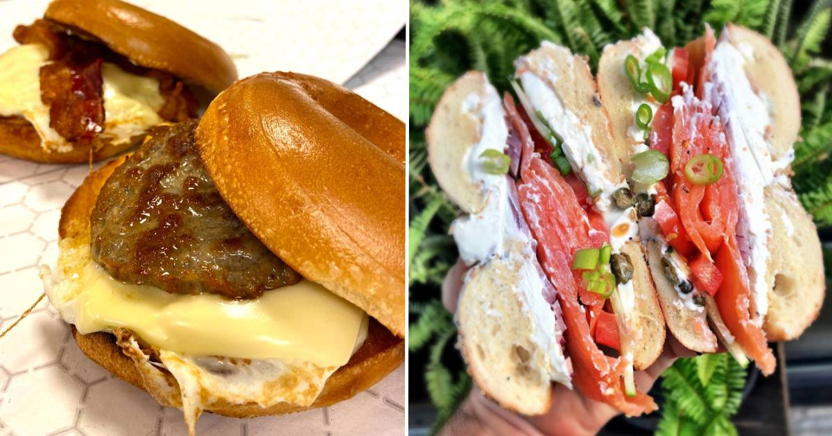 split image with breakfast sandwiches on the left and bagel with salmon on the right