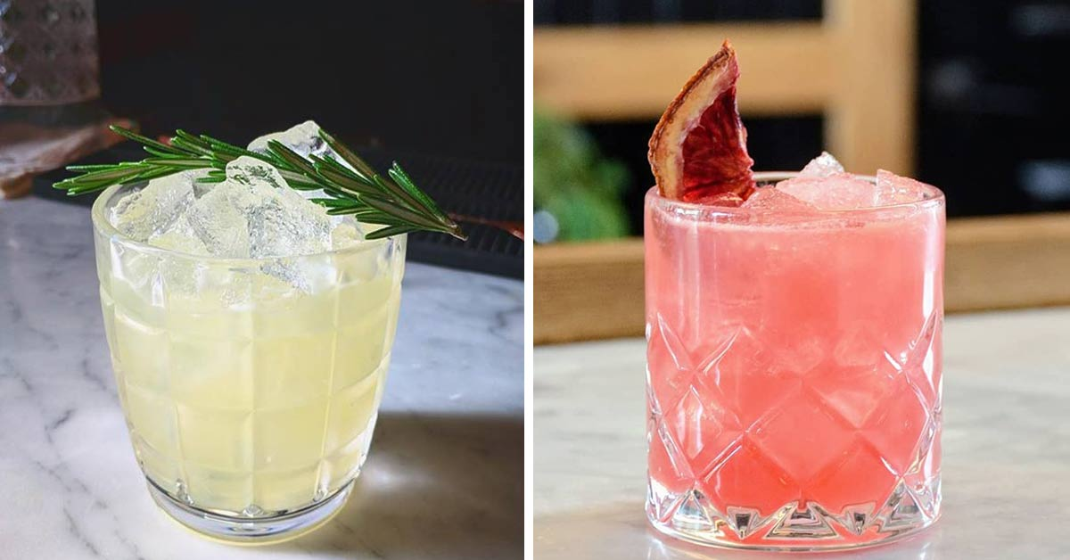 side by side photos of cocktails