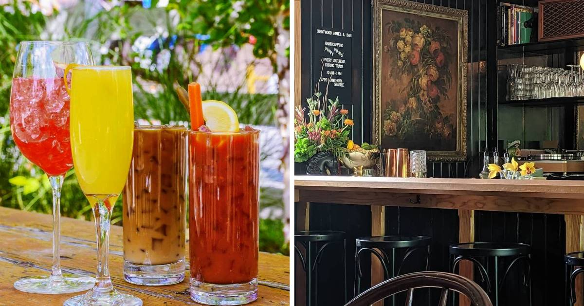 split image with cocktails on the left and bar on the right