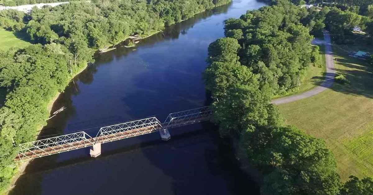aerial shot of bridge over hudson river