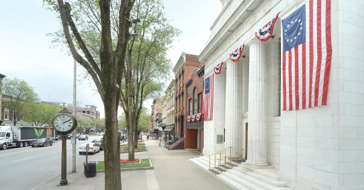 view of buildings along broadway in saratoga springs