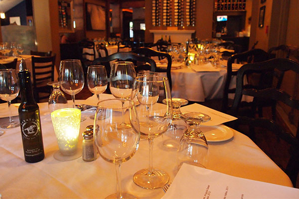 table and place settings at the brook tavern