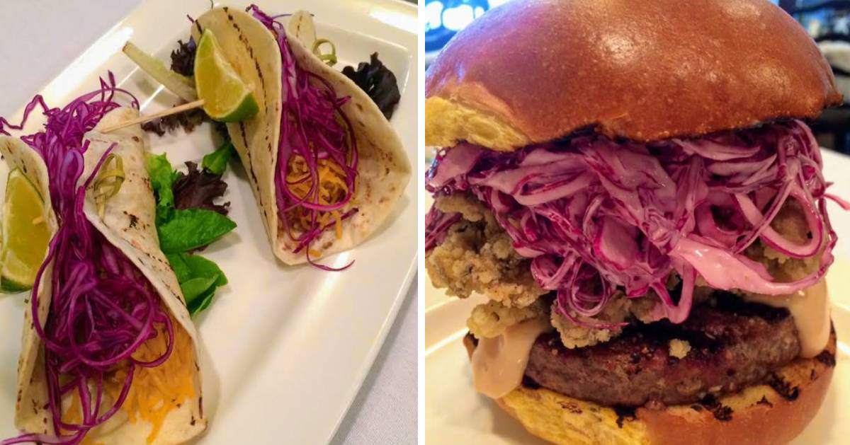 split image with some kind of tacos on the left and a burger with red cabbage slaw on the right