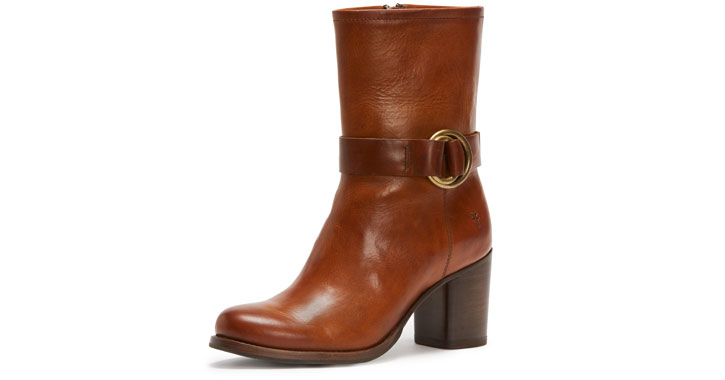 a brown ankle boot with a buckle