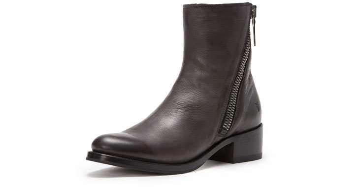a brown zip up ankle boot