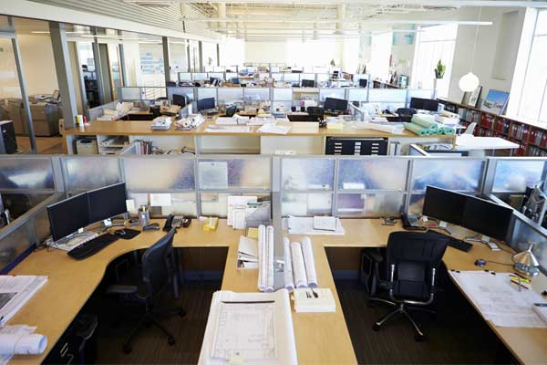 open office with cubicles
